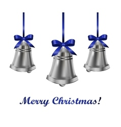 Silver bells withblue bow vector