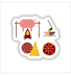 Set of paper stickers on white junk food vector
