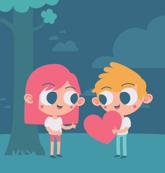 Cute couple trading a heart under a tree vector