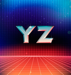 80s Retro Futuristic Font from Y to Z vector image vector image