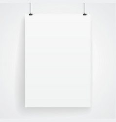 Blank paper poster on white wall vector image