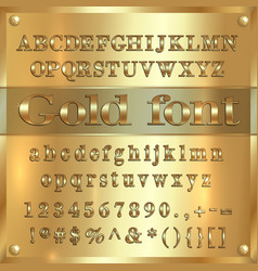 Gold coated alphabet letters digits and vector