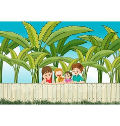 A sad mother with her family at the fence vector image vector image