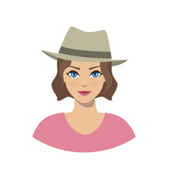 Avatar icon of girl in a fedora hat vector