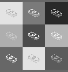 bank note dollar sign grayscale version vector image vector image