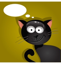 Black cat with a cloud of thoughts vector