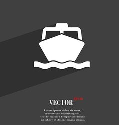 Boat icon symbol flat modern web design with long vector