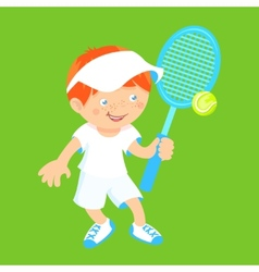 Boy with badminton racquet vector image vector image