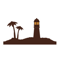 Color silhouette of island with lighthouse and vector