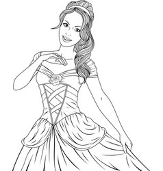coloring the beautiful princess vector image