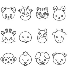 Cute cartoon chinese zodiac line icon vector