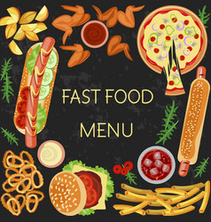 fast food menu vector image vector image