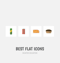 flat icon food set of spaghetti tart tomato and vector image vector image