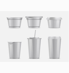 Food and drink plastic container set vector