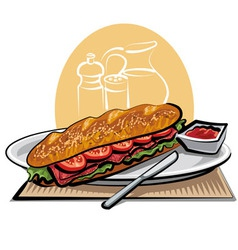 french sandwich vector image vector image