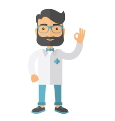 Friendly doctor character shows sign all ok vector