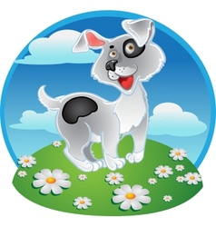 Fun white dog on a color background vector image