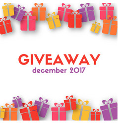 Giveaway banner template with gift boxes vector