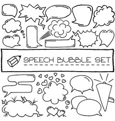 Hand drawn speech bubble icons vector image