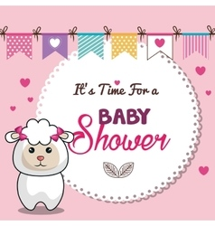 invitation baby shower card pink with sheep desing vector image