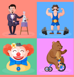 Magician strongman clown bear on bicycle vector