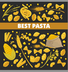 Pasta poster for best italian cuisine food of vector