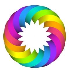 Rainbow circle flower logo design vector