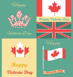 set of vintage posters for victoria day vector image vector image