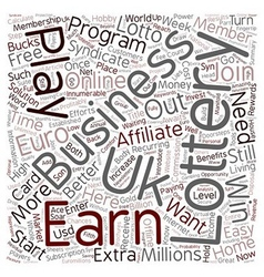 The e lottery home business opportunity text vector