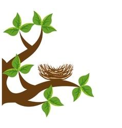 tree branch bird nest icon vector image