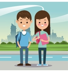 Two students with bag book urban background vector
