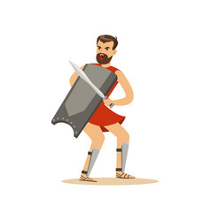 Warrior character man with a sword and a shield vector