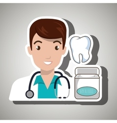 Doctor tooth stethoscope mouthwash vector