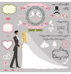 Wedding invitation decor setbride and groom vector