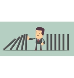 Man stopping the domino effect with falling vector image