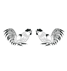 Fighting cocks on a white background vector