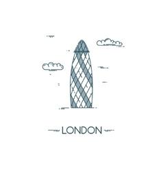 Skyscraper gherkin in city of london vector