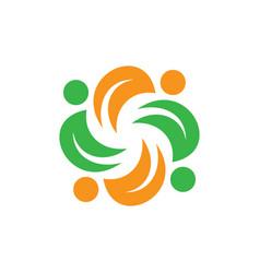 Spin leaf eco logo vector