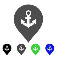 Sea port marker flat icon vector
