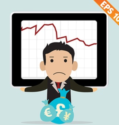 Cartoon businessman with financial money - - vector