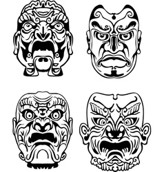 Japanese noh theatrical masks vector
