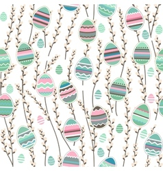 Seamless pattern with willow and painted eggs vector