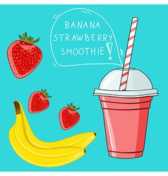 Glass with banana strawberry smoothie natural bio vector
