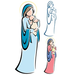 Virgin mary baby jesus vector