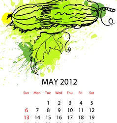 calendar with vegetables for 2012 may vector image