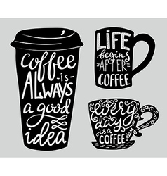 Lettering on coffee cup shape set vector