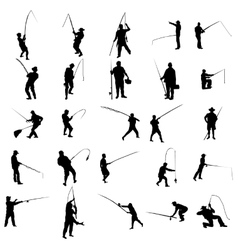 Fisherman silhouette set vector