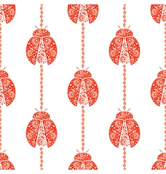 Pattern with bright decorative red ladybugs vector