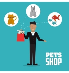 Pet shop with dog cat fish and man design vector