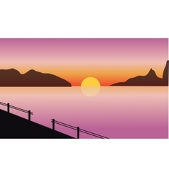 Silhouette of sea and mountain vector